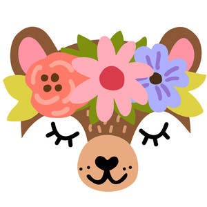bear face with flower crown