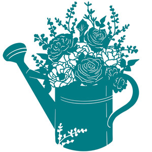 romantic floral watering can