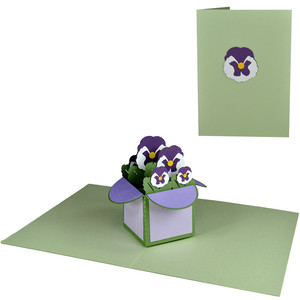 pansies pop up box in a card