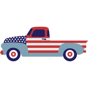 painted truck with flag