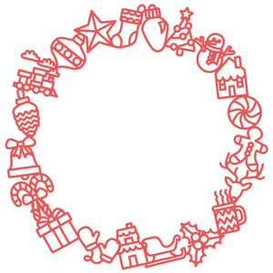 christmas icons wreath