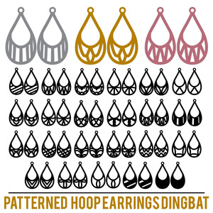 patterned hoop earrings dingbat font