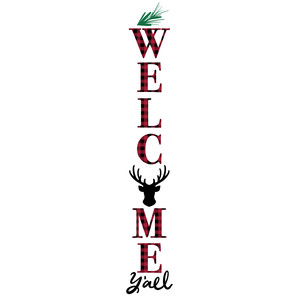 welcome y'all buffalo plaid porch sign