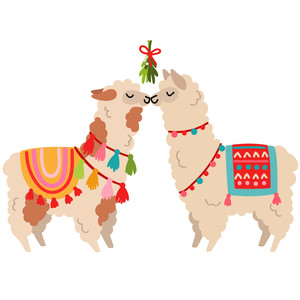 alpacas kissing under the mistletoe