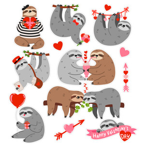 valentine's day sloth stickers