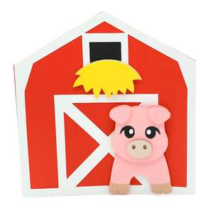pig and barn card