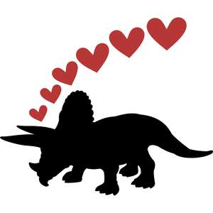 triceratops dinosaur and hearts