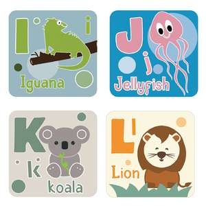 animal alphabet cards i to l