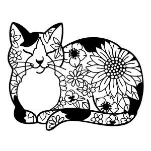 calico cat flower mandala