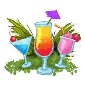 painted tropical drinks