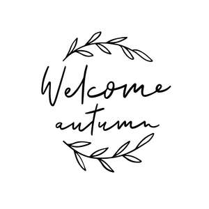 welcome autumn phrase wreath leaves