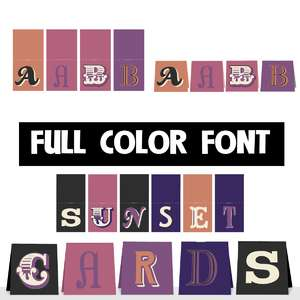 sunset cards color font