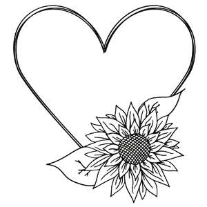 sunflower heart sketch frame