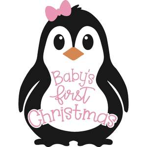baby's first christmas penguin girl