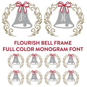 flourish frame and bell full color monogram font