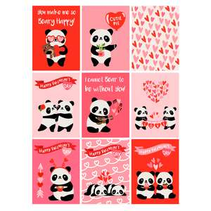 kawaii panda valentine's day cards