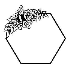 bee and flower honeycomb frame