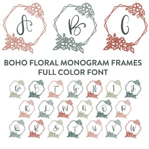 boho floral frame full color monogram font