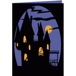 halloween haunted house 7x5 layered cutout card