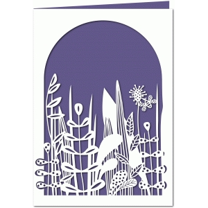 a bee in the grass 7x5 papercut card