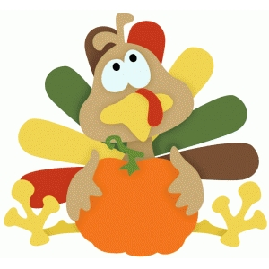funny turkey w pumpkin