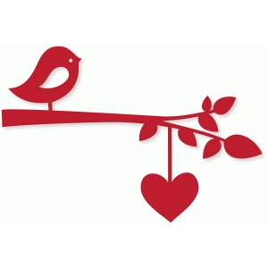 bird branch w/heart string
