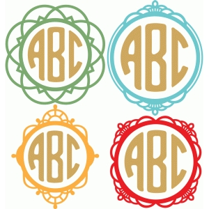 fancy round monogram frames