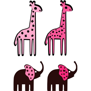 cute girly giraffe - elephant set