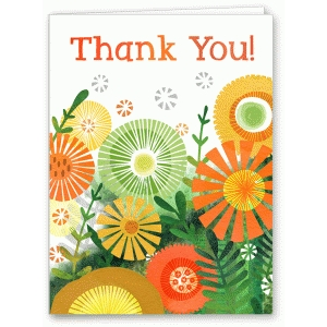 watercolor fall floral thank you card
