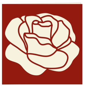 red rose papercut card
