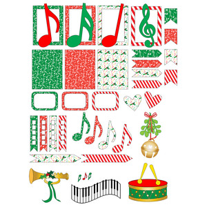 christmas music planner stickers
