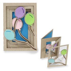 accordion shadow box card - balloon
