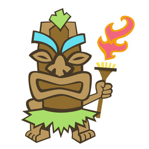 tiki with a torch