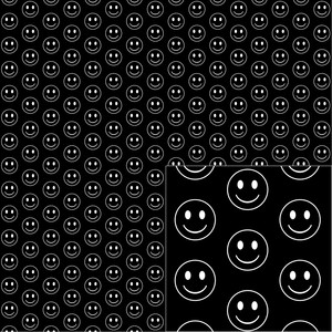 white on black happy face pattern