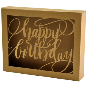 happy birthday brushed box card
