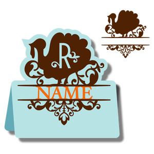 monogram place card & nameplate - turkey r