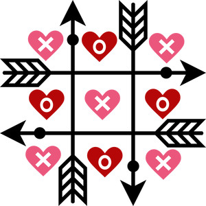 tic tac toe arrows and hearts
