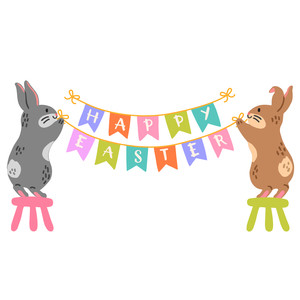 easter bunnies with bunting