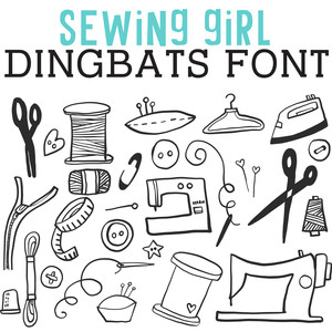 cg sewing girl dingbats