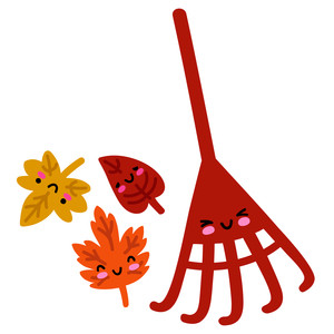 kawaii rake and leaves