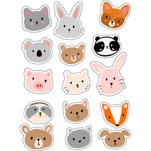 ml sweet animal faces stickers
