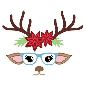 cute christmas deer face