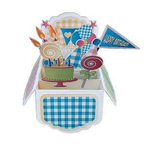 5x7 gingham birthday pop up card in a box