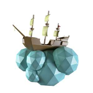 lowpoly wall flying pirate ship