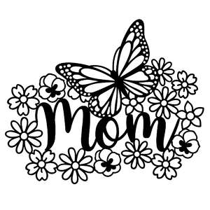 mom monogram with butterfly and flowers