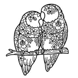 love birds tropical flowers mandala