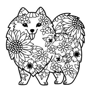 pomeranian dog flower mandala