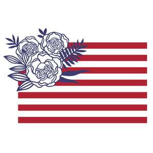 floral american flag