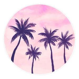 palm trees watercolor sunset
