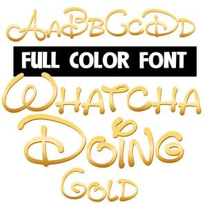 whatcha doing gold color font